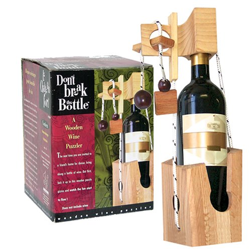 Wooden Wine Puzzle (Don't Break The Bottle Wood Wine Carrier Puzzle Gift - Original)