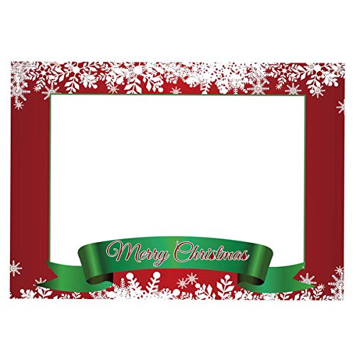 Photobooth Props Frame, Merry Christmas Party Props Photo Booth Selfie Picture Frame Leaf Design