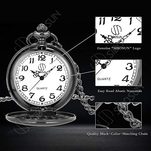 Pocket Watch Men Personalized Black Chain SIBOSUN Quartz Gift Mother Father Dad to Son Engraved Analog by SIBOSUN (Image #3)