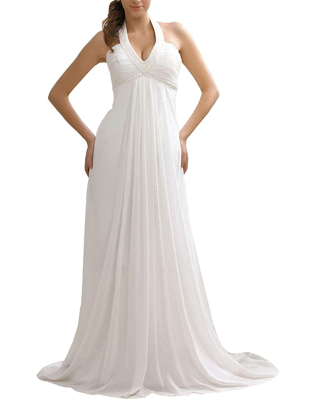 Halter Beach Wedding Dress Empire Waist Chiffon Bridal Dresses Beaded At Amazon Women's Clothing Store: Beach Wedding Dress Empire Dresses At Websimilar.org