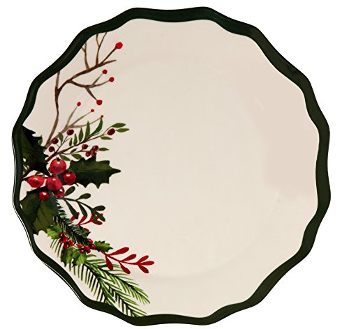 Melange 6-Piece 100% Melamine Dinner Plate Set (Winter Bouquet Collection ) | Shatter-Proof and Chip-Resistant Melamine Dinner Plates Christmas Holly Collection