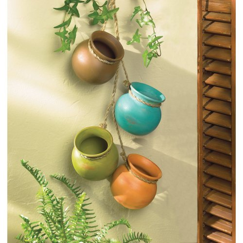 Hanging SOUTHWEST SANTA FE MINI CLAY POT WALL DECOR Indoor Outdoor Patio Home