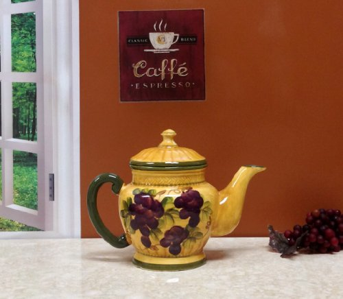 CERAMIC TEA POT, TEA-FOR-ONE TUSCANY GRAPE WINE DECOR