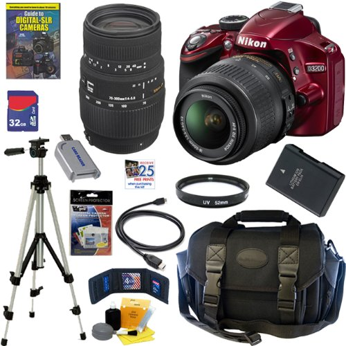 Nikon D3200 24.2 MP CMOS Digital SLR Camera (Red) with 18-55mm f/3.5-5.6G AF-S DX VR Lens and Sigma 70-300mm f/4-5.6 SLD DG Macro Lens with built in motor + EN-EL14 Battery + 10pc Bundle 32GB Deluxe Accessory Kit, Best Gadgets