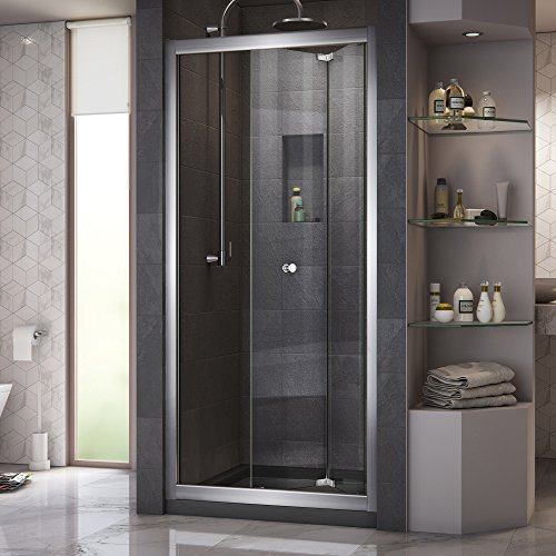 DreamLine Butterfly 30-31 1/2 in. W x 72 in. H Semi-Frameless Sliding Bi-Fold Shower Door in Chrome, SHDR-4532726-01