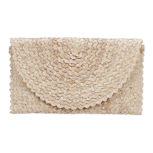 NOVICA Off White Ivory Hand Woven Palm Leaf Clutch Handbag, Trance In Ivory