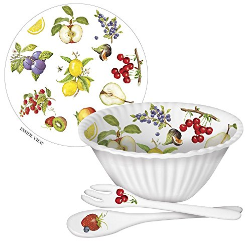 Serving Salad Spoon Mary (Mary Lake-Thompson Fruit 11-inch Melamine Bowl with Serving Spoon and Fork)