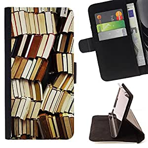 - book library reading teacher school - - Prima caja de la PU billetera de cuero con ranuras para tarjetas, efectivo desmontable correa para l Funny HouseFOR Apple Iphone 5 / 5S