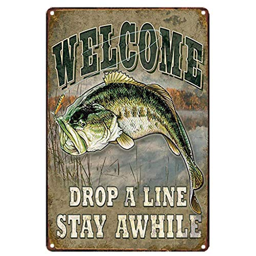 AYZ - Welcome Fishing Vintage Metal Tin Sign Poster Living Room Wall Sticker Art Painting Pub Bar Decor Home Decorations TPLJ3949