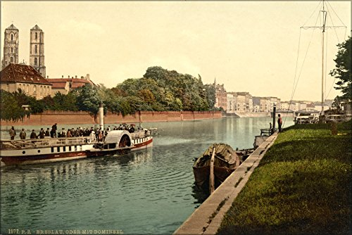 Cathedral Island - 24x36 Poster . Oder River, Cathedral Island, Wroclaw, Poland 1890 Steamboat