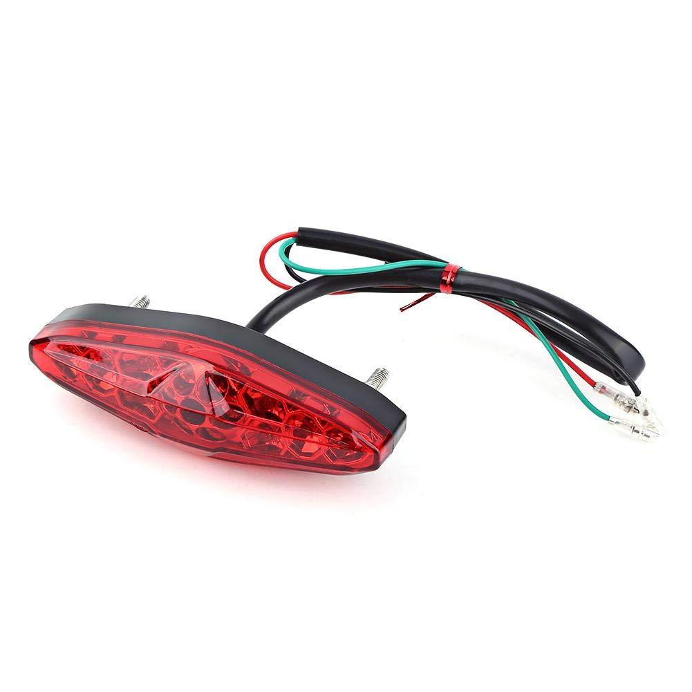 12V Universal 15 LED Motorcycle Rear Tail Light Brake Stop Running Tail Light ATV Dirt Bike (Red)