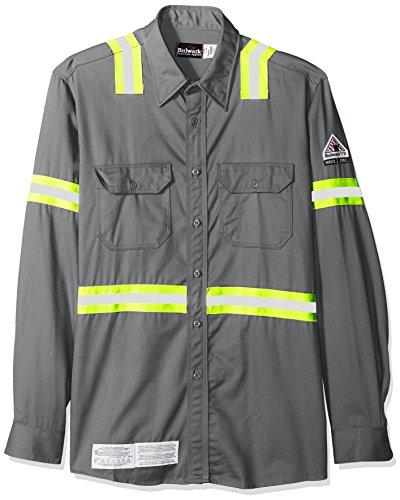 Bulwark Men's Enhanced Vis Uniform Shirt-Excel Fr, Grey, Large