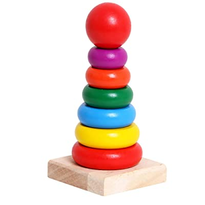 bromrefulgenc Classic Wooden Rainbow Stacker Rings Stacking Educational Kids Toddlers Toy: Home & Kitchen