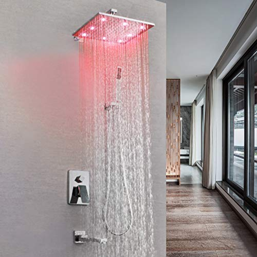Shower System, with LED High Pressure Rain Shower Head, Hand Shower and Shower Faucet Valve, Bathroom Luxury Rain Shower Set Wall Mounted