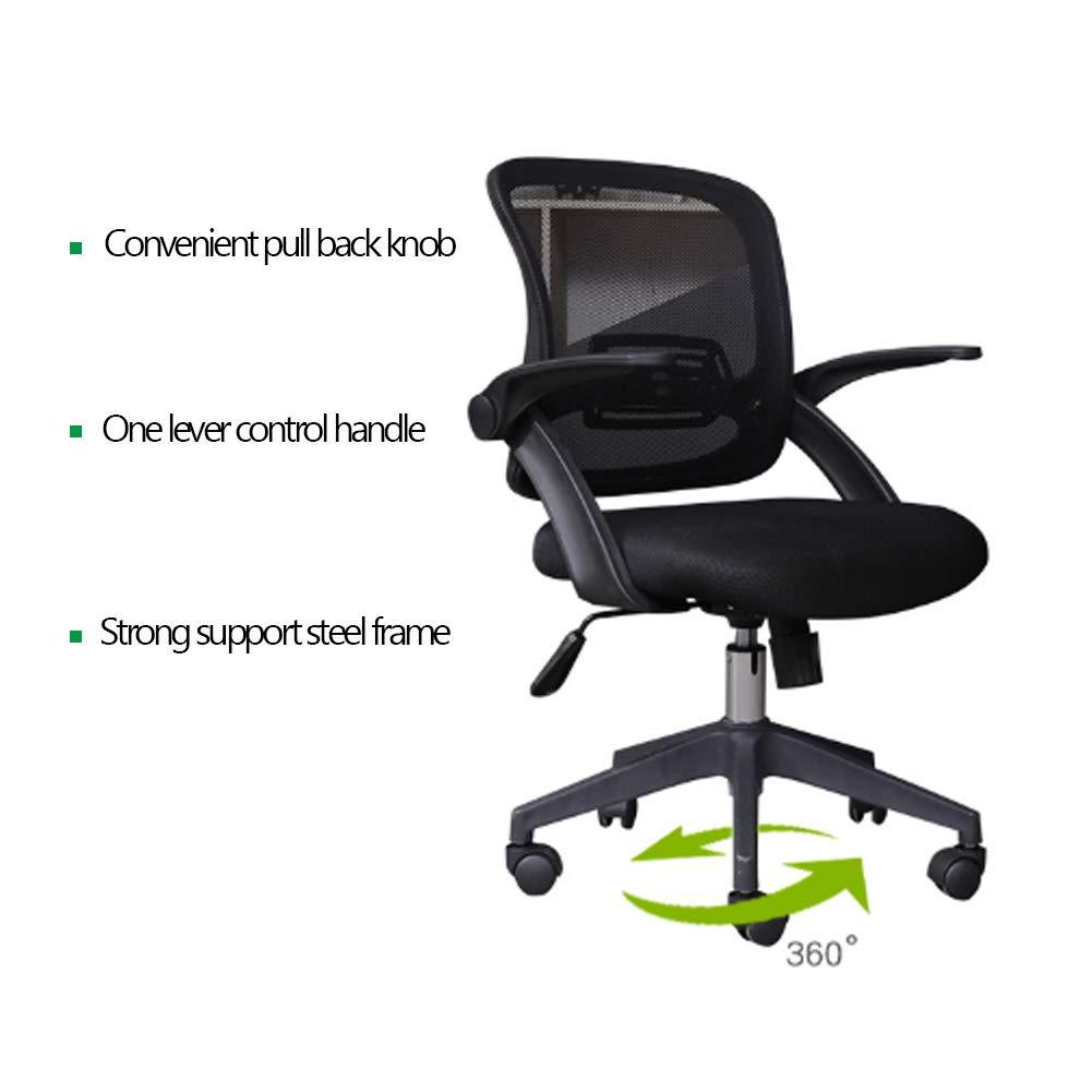 ATGTAOS kontorsstol skrivbordsstol, ergonomisk hemmakontor stol, flip-up armstöd, justerbar rygg, rotationssäte, lämplig för hem och kontor Vitt Vitt