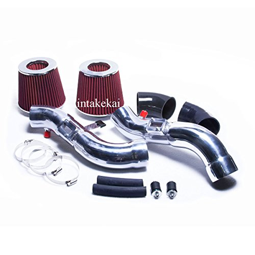 PERFORMANCE DUAL AIR INTAKE KIT + FILTER FOR 2007 2008 NISSAN 350Z 3.5 3.5L V6 ENGINE (RED)