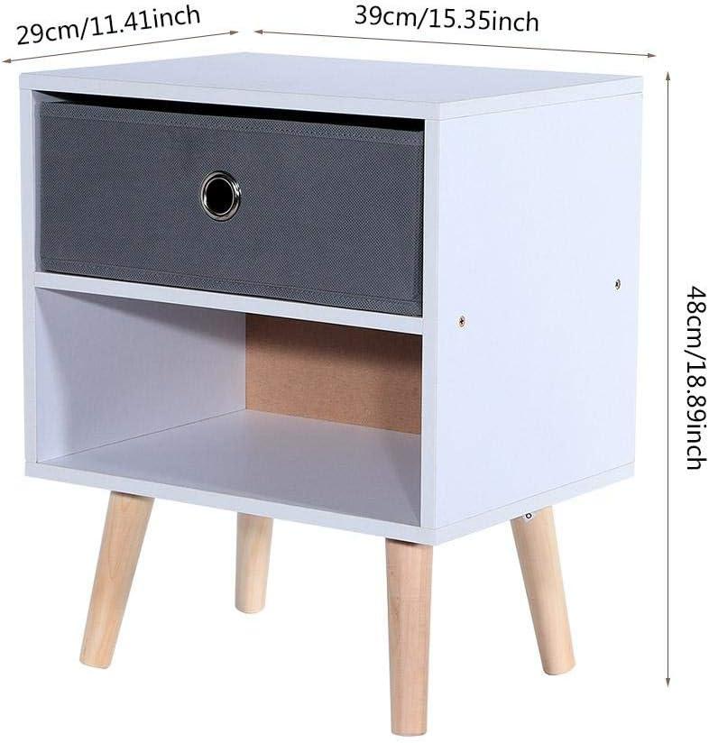 Greensen Nachttisch Holz Nachtschrank mit Beinen Beistelltisch mit Schublade und Offenem Fach Sofatisch Vintage Telefontisch Kleines Nachtkommode f/ür Wohnzimmer Schlafzimmer 39 x 29 x 48 cm