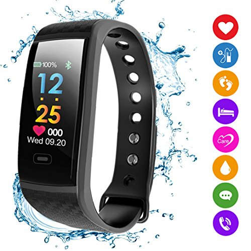 Fitness Tracker HR, Smart Bracelet 2018 New Activity Tracker with Pedometer Color Display Blood Pressure Heart Rate Sleep Monitor GPS Route Tracking IP67 Waterproof for Android Iphone Adults ()