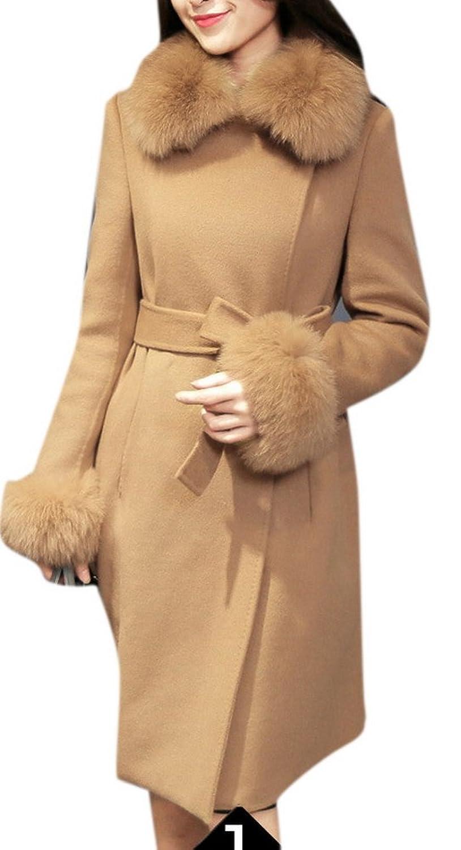 Enlishop Women's Elegant Thick Woolen Parka Tunic Faux Fur Collar Coat
