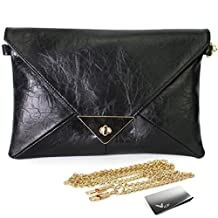 Missy K Retro Faux Leather Envelope Clutch Purse, Black, + kilofly Money Clip