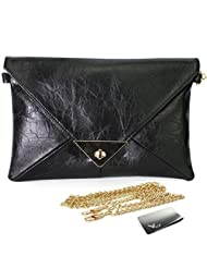 Missy K Retro Faux Leather Envelope Clutch Purse, Black, + kilofly Money Clip