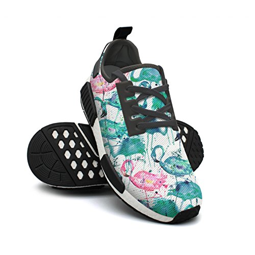 Sneakers Teal Sneakers Fashion Womens Rendy Pattern Flamingos Shoes Breathable Lightweight FAAERD Mesh Pink qPFwxSpp