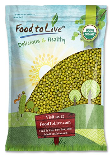 Beans Mung Green - Certified Organic Mung Beans by Food to Live (Sprouting, Non-GMO, Kosher, Bulk) - 10 Pounds