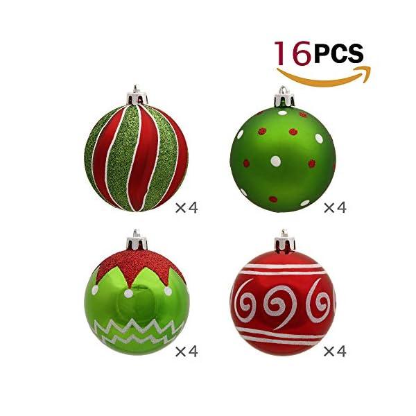 Victor's Workshop Addobbi Natalizi 16 Pezzi 8cm Palle di Natale, Delightful Elf Red Green And White Infrangibile Palla di Natale Ornamenti Decorazione per la Decorazione Dell'Albero di Natale 3 spesavip