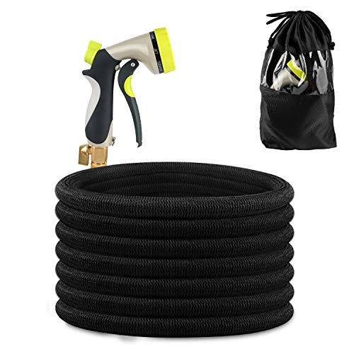 IEKA 50FT Expandable Garden Hose, Strongest Expandable Water Hose, Double Latex Core,Extra Flexible Stretch with Brass Connectors and 8 Function Spray Nozzle Fittings (Black)