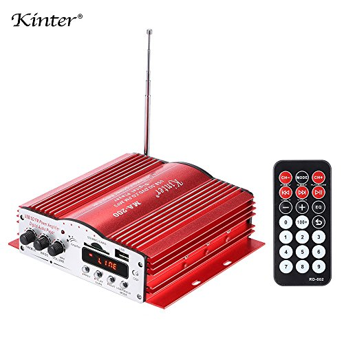 Kinter MA-200 Portable Car HiFi Digital Audio Stereo USB/AUX/FM/SD Power Amplifier Amp 4 Channels Output with Remote (Remote Control Ma Amp)