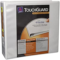 Avery Touchguard Antimicrobial View Binder with 4 Inch One Touch EZD Ring, White (17145)