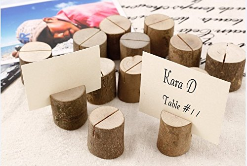 Dproptel Rustic Real Wood Base Wedding Table Name Number Holder Party Decoration Card Holders Picture Memo Clip Note Photo Clip Holder - 30 PCS Pack by Dproptel (Image #1)