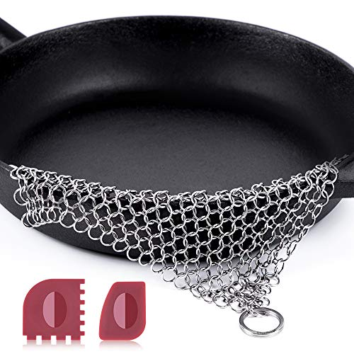 "Amagabeli Stainless Steel Cast Iron Cleaner 8""x6"" 316L Chainmail Scrubber Pan Scraper Cookware Accessories Pan Dutch Ovens Plastic Skillet Scraper Pot Grill Brush Seasoning Cleaning Tools XL Clean"