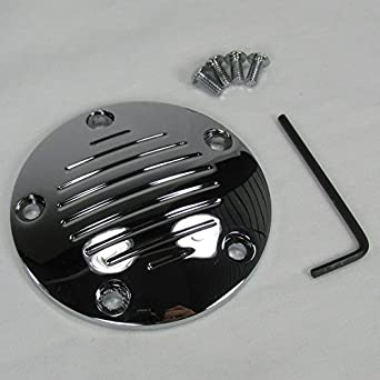 Hardware Included Black Grooved 5-Hole Twin Cam Points Ignition Cover Motorcycle Chopper Bobber Cafe Racer Billet Proof Designs Fits 1999 and UP Harley FLST FXD FLT FXST Twin Cam Motors Engines w// 5-Hole Covers