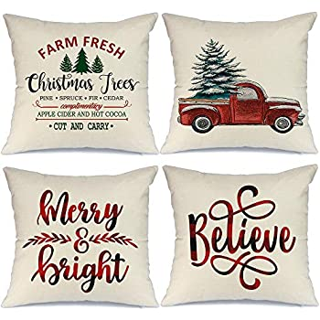 AENEY Farmhouse Christmas Pillow Covers 18x18 Set of 4 for Christmas Decor Red Truck Buffalo Check Throw Pillows Black and Red Buffalo Plaid Christmas Decorations Throw Pillow Covers
