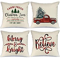Christmas Farmhouse Home Decor AENEY Buffalo Plaid Christmas Pillow Covers 18×18 Set of 4 Marry Bright Christmas Pillows Winter Holiday Throw Pillows… farmhouse christmas pillow covers