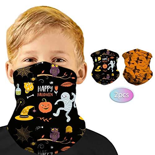 Ahagogo 2PC Halloween Headband Bandana for Kids Children, Outdoors Headwear Bandanna Wide Headband Headwrap Balaclava Tube Multifunctional Headwear Neck Gaiter Kids