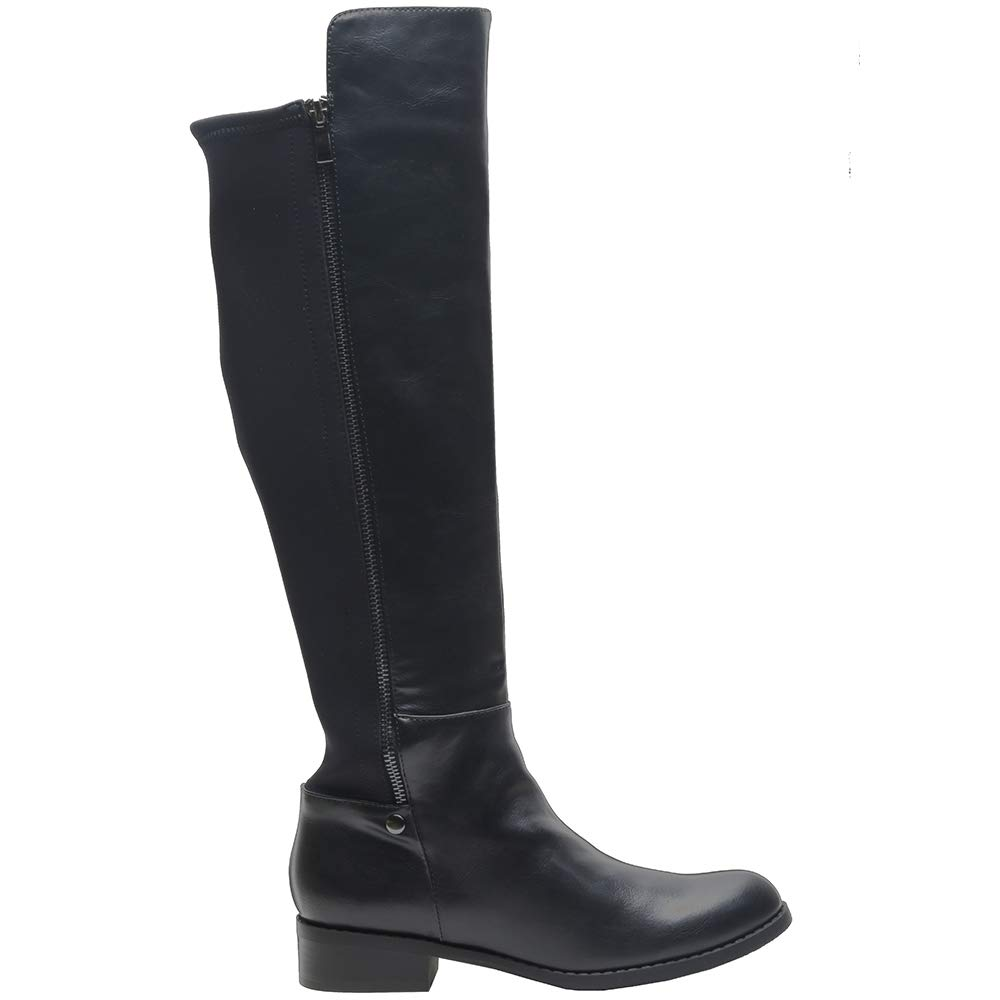 Black Pu Sofree Women's Knee High Riding Boots