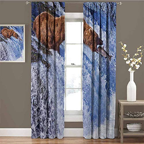 GUUVOR Nature for Bedroom Blackout Curtains Grizzly Bear at Katmai National Park Alaska Waterfall Catches Fish Wildlife Picture Blackout Curtains for The Living Room W42 x L63 Inch White Brown