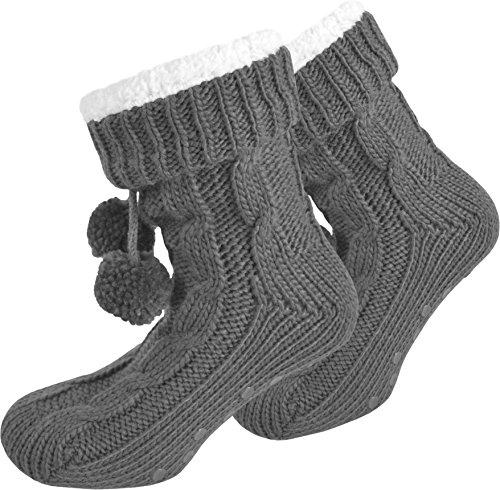 Das perfekte Weihnachtsgeschenk! Sehr warme Hausschuhe mit Fellfütterung und ABS-Laufsohle Farbe Grau Größe 36/40
