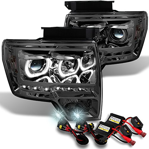 Ford F150 SmokeExclusive Halo Projector SMD DRL LED Headlights + Slim Ballast 6000K White HID -