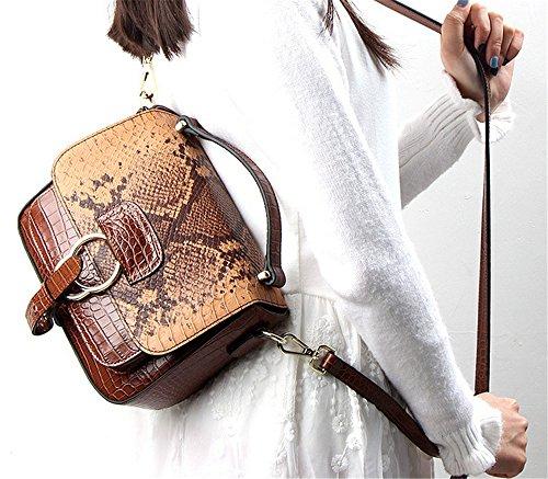 La mujer Xinmaoyuan Bolsos Bolso Bolsa bandolera de cuero auténtico Portasilla Retro,Brown Brown