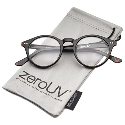 zeroUV - Vintage Inspired Clear Lens Small Circle Round Sunglasses (Tortoise)
