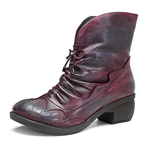 Women's Boot Leather Ankle Oxford Socofy Up Boots Ankle Handmade Shoes Lace Red Vintage Bootie xTUXwEYq