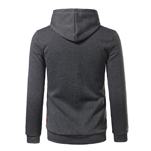 Sonder Fashion Men Color Block Comfy Outdoor Drawstring Hoodie Pullover Sweaters DarkgreyUS-XL (Leather Hampshire New Lace And)