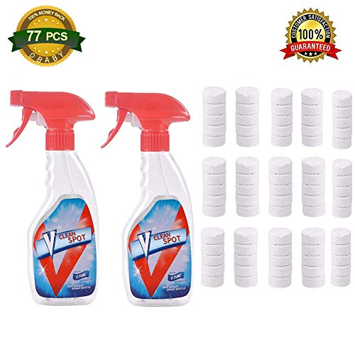 77 Pcs Multi Functional Effervescent Spray Cleaner Set With 2 Spray Bottles - All Purpose Home Cleaning Effervescent Spray Cleaner((75pcs with 2 bottles)