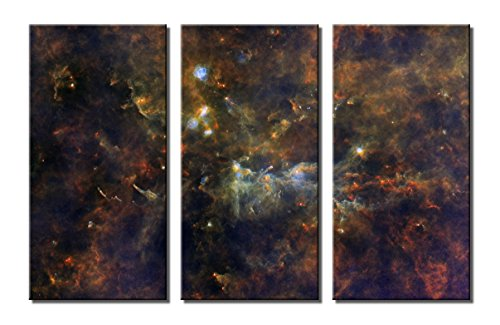 t Canvas Print Wall Art Set - The Little Fox and The Giant Stars Planetary Triptych (Little Star Canvas Artwork)