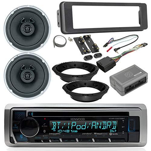 Harley Davidson Touring Radio Package - Kenwood CD Bluetooth USB Marine Radio, 2X Jensen 6.5