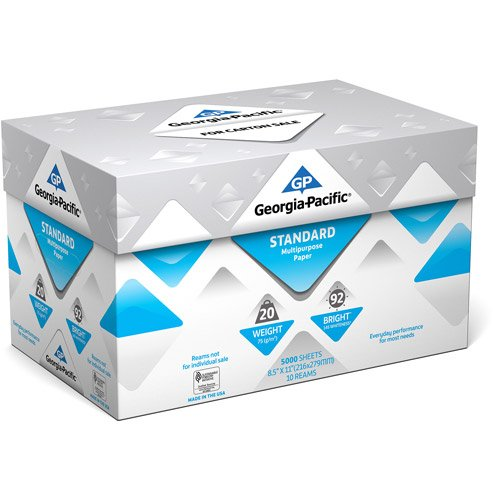 Georgia-Pacific Standard Multipurpose Paper, 8.5 x 11, 20 lb., 92 Brightness, 10 Ream Case, 5,000 Sheets (1)