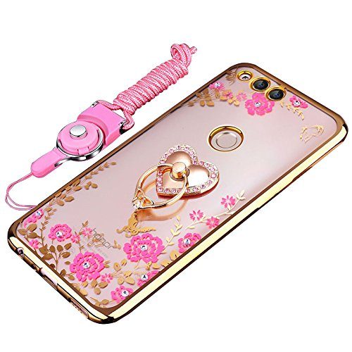 Huawei Honor 7X Case  Huawei Mate Se Case  Best Share Bling Crystal Slim Fit Clear Tpu Kickstand Case Thin Soft Bumper Protective Cover   Flexible Metal Ring Holder  Heart Lanyard Gold